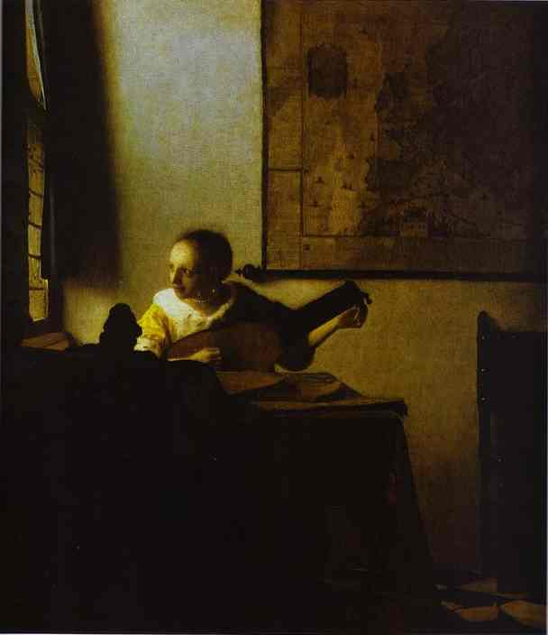 WikiOO.org - Encyclopedia of Fine Arts - Malba, Artwork Jan Vermeer - Woman Playing a Lute near a Window