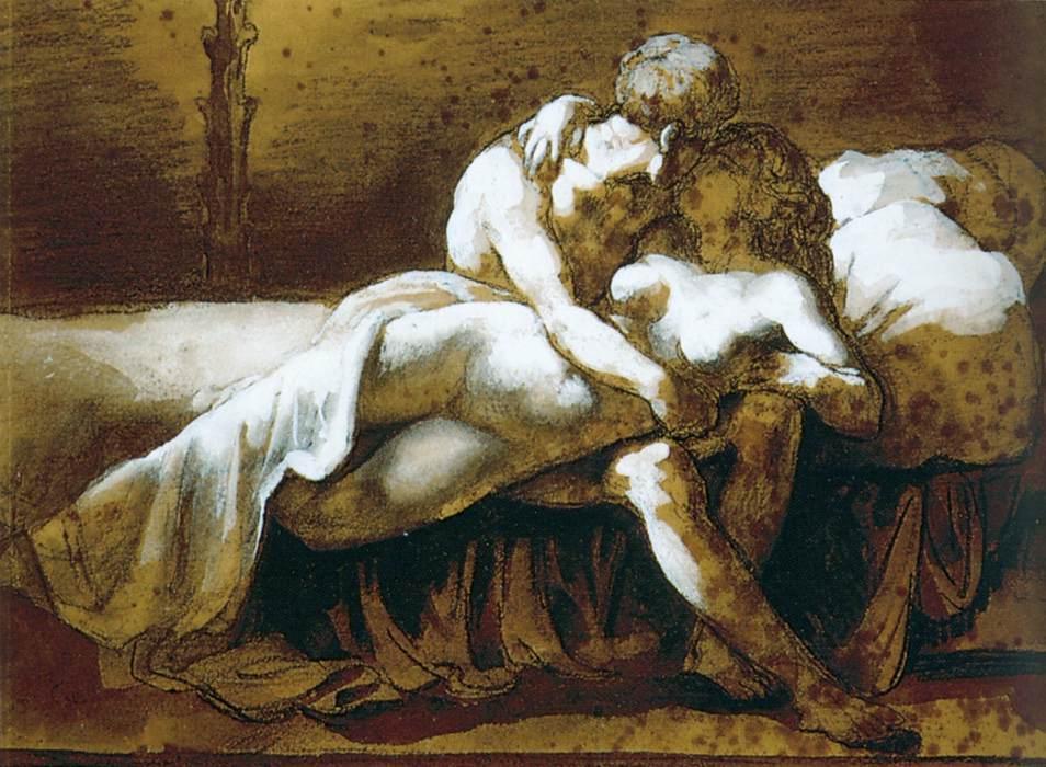 Wikioo.org – L'Encyclopédie des Beaux Arts - Peinture, Oeuvre de Jean-Louis André Théodore Géricault - Le baiser