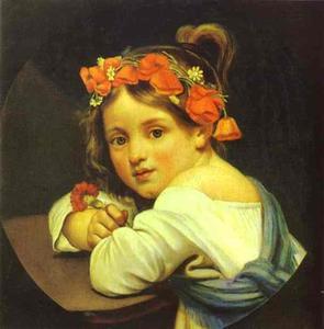 Girl Wearing the Poppy Wreath