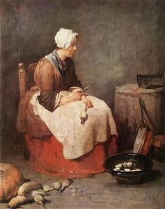 Woman Cleaning Turnips