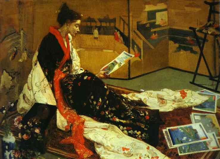 Wikioo.org - The Encyclopedia of Fine Arts - Painting, Artwork by James Abbott Mcneill Whistler - Caprice in Purple and Gold No 2 - The Golden Screen