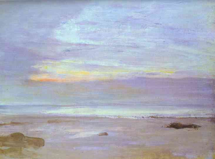Wikioo.org - The Encyclopedia of Fine Arts - Painting, Artwork by James Abbott Mcneill Whistler - Crepuscule in Opal, Trouville