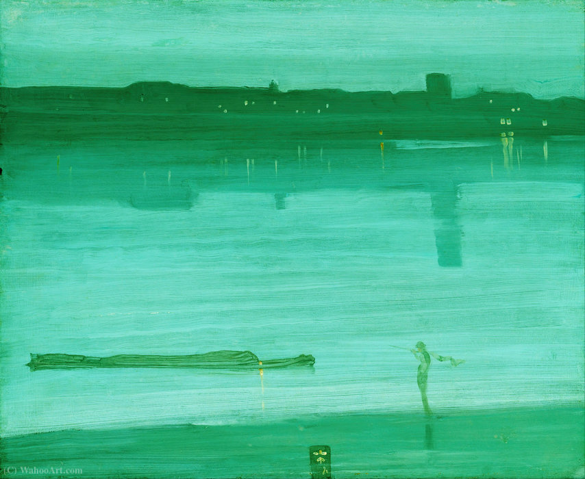 Wikioo.org - The Encyclopedia of Fine Arts - Painting, Artwork by James Abbott Mcneill Whistler - Nocturne in Blue and Green, Chelsea