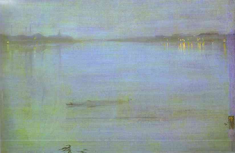 Wikioo.org - The Encyclopedia of Fine Arts - Painting, Artwork by James Abbott Mcneill Whistler - Nocturne, Blue and Silver - Cremorne Lights