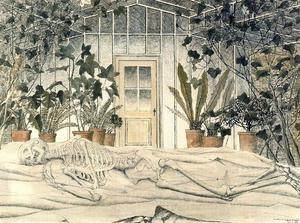 Winter. Skeleton in a greenhouse