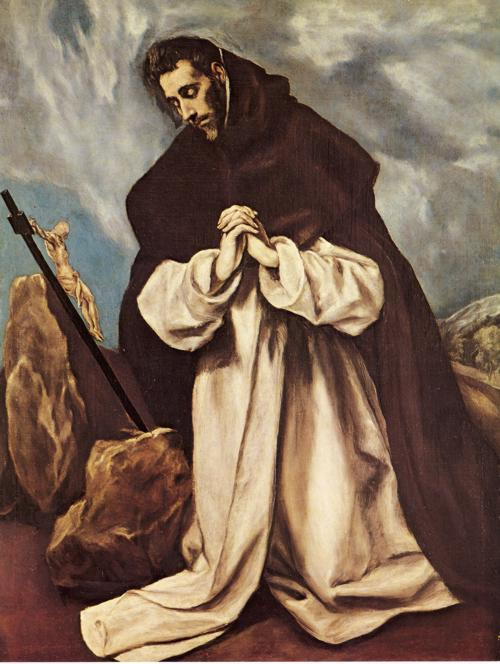 Wikioo.org - The Encyclopedia of Fine Arts - Painting, Artwork by El Greco (Doménikos Theotokopoulos) - St. Dominic in Prayer
