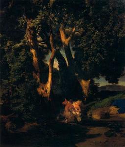 Nymphe et centaure à l'orée d'un bois