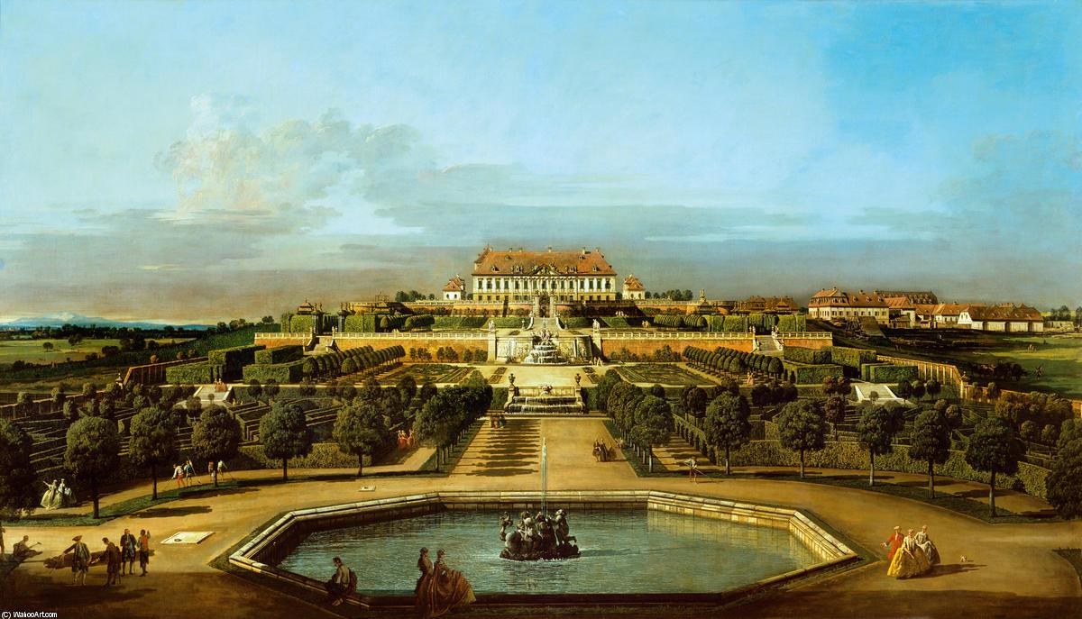 Wikioo.org - The Encyclopedia of Fine Arts - Painting, Artwork by Bernardo Bellotto - Das kaiserliche Lustschloß Schloßhof, Gartenseite