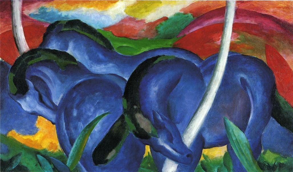 Wikioo.org - The Encyclopedia of Fine Arts - Painting, Artwork by Franz Marc - The Large Blue Horses