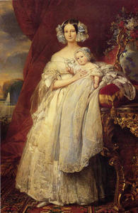 Helene Louise Elizabeth de Mecklembourg Schwerin, Duchess D'Orleans with Prince Louis Philippe Albert D'Orleans, Comte de Paris