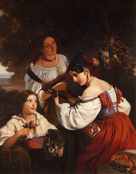 Wikioo.org - The Encyclopedia of Fine Arts - Painting, Artwork by Franz Xaver Winterhalter - Roman Genre Scene