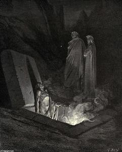 """The Inferno, Canto 10, lines 40-42. He, soon as there I stood at the tomb's foot, Ey'd me a space, then in disdainful mood Address'd me. """"Say, what ancestors were thine"""""""