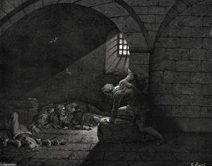 El Infierno, Canto 33, líneas 73-74. Entonces el ayuno tiene el dominio de la pena.