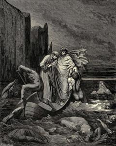 El Infierno, Canto 8, líneas 39-41. Mi maestro sage Aware, empujándolo hacia atrás. Una Manera! allí Para los otros perros!