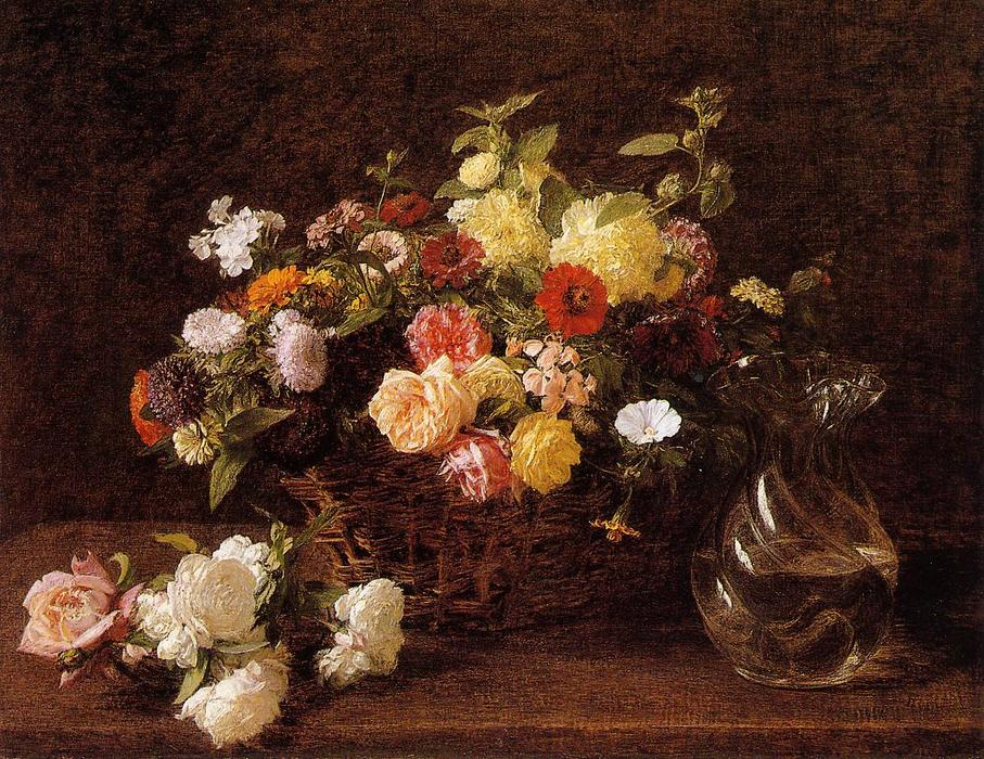 Wikioo.org - The Encyclopedia of Fine Arts - Painting, Artwork by Henri Fantin Latour - Basket of Flowers