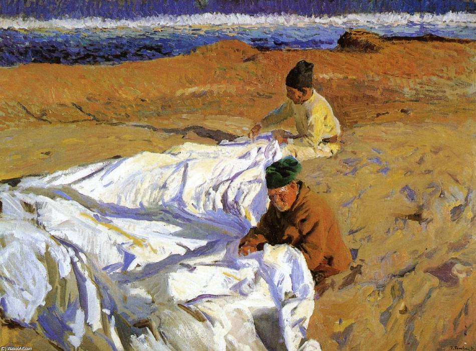 Wikioo.org - The Encyclopedia of Fine Arts - Painting, Artwork by Joaquin Sorolla Y Bastida - Mending the Sail 1