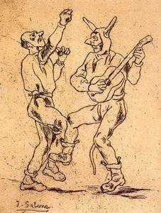 Máscaras bailando con guitarra
