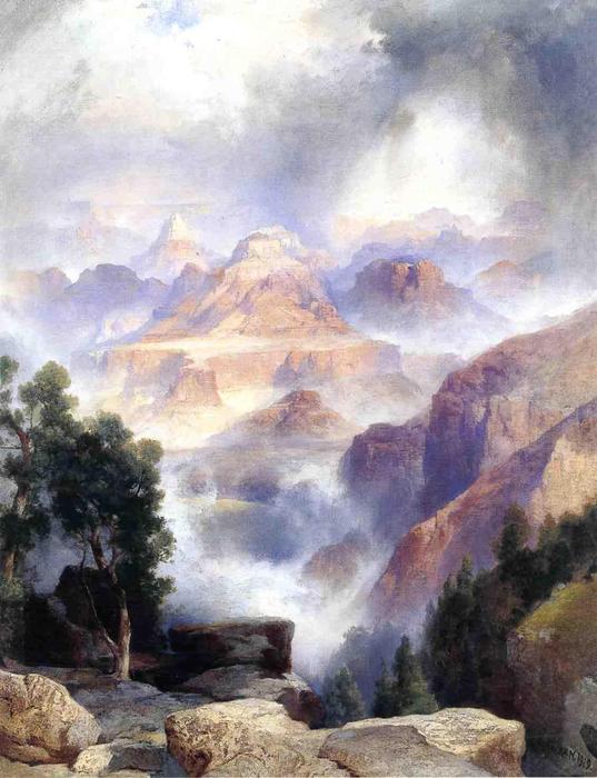 Wikioo.org - สารานุกรมวิจิตรศิลป์ - จิตรกรรม Thomas Moran - A Showery Day, Grand Canyon