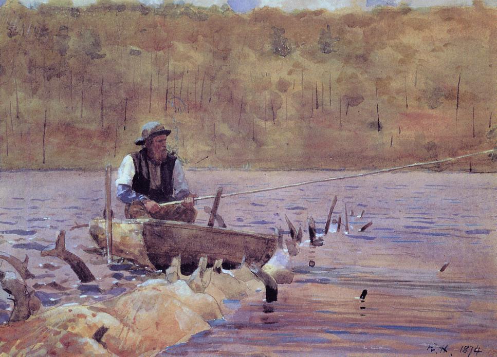 Wikioo.org – La Enciclopedia de las Bellas Artes - Pintura, Obras de arte de Winslow Homer - hombre en Un  batea  pesca