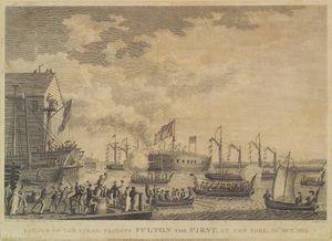 Launch of the Steamship Frigate Fulton, at New York, 29th Oct. 1814