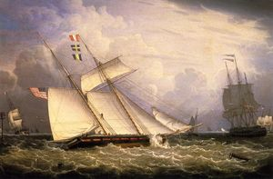American Schooner under Sail with Heavy Seas
