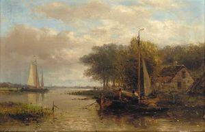 Fishermen Conversing Upstream