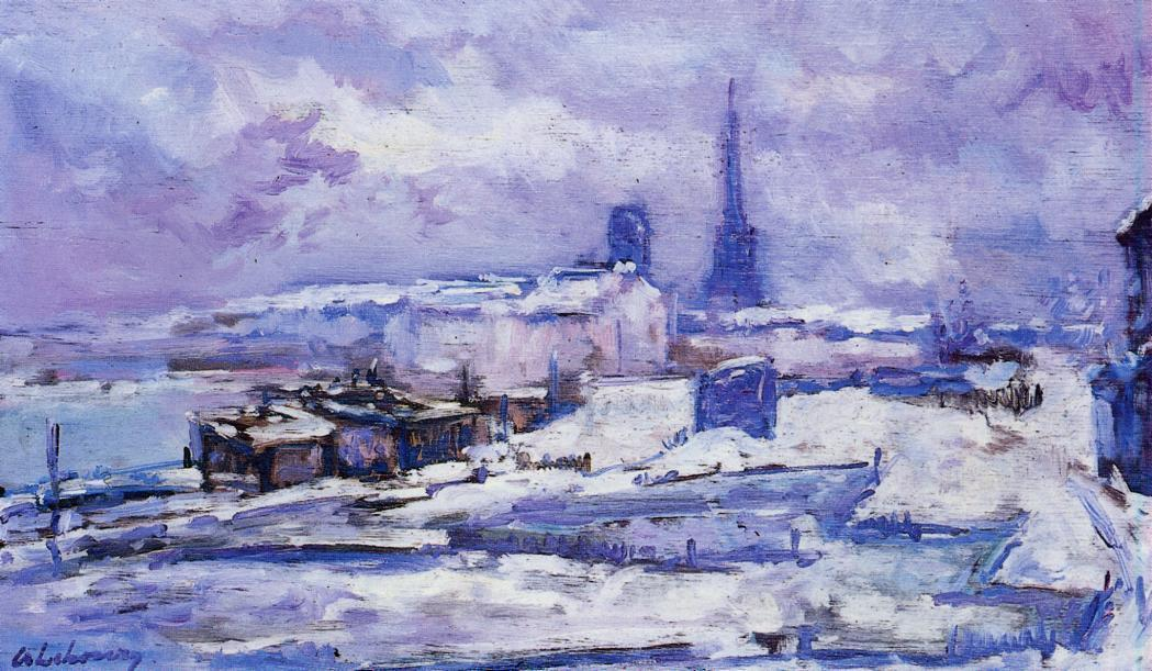 Wikioo.org - The Encyclopedia of Fine Arts - Painting, Artwork by Albert-Charles Lebourg (Albert-Marie Lebourg) - Rouen, Snow Effect
