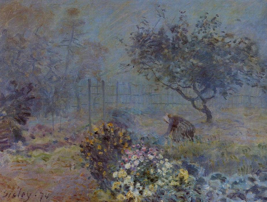 Wikioo.org - The Encyclopedia of Fine Arts - Painting, Artwork by Alfred Sisley - Foggy Morning, Voisins
