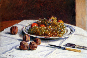Grapes And Walnuts On A Table