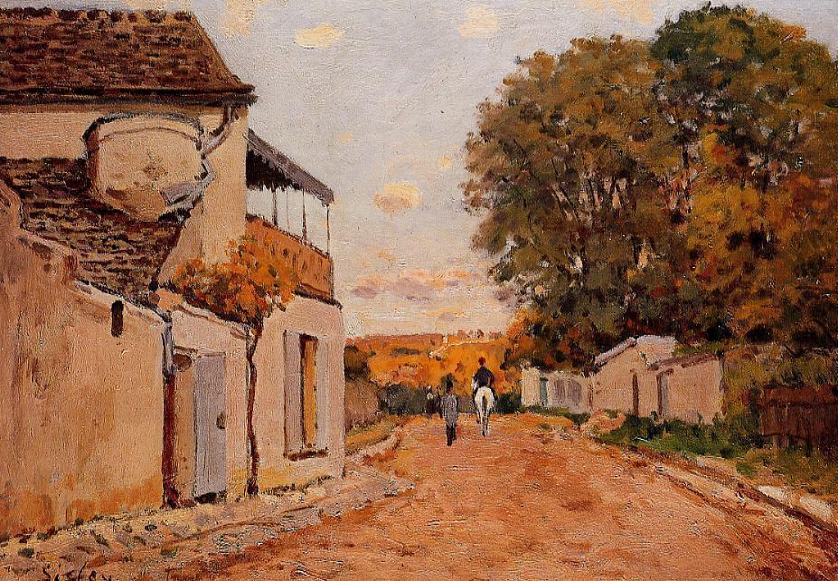Wikioo.org - The Encyclopedia of Fine Arts - Painting, Artwork by Alfred Sisley - Street in Louveciennes (Rue de la Princesse)