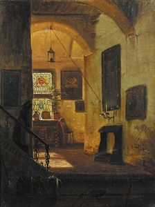 A sunlit interior with a servant coming down the stairs