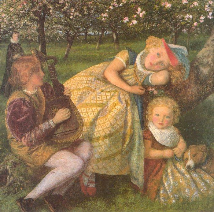 WikiOO.org - Енциклопедия за изящни изкуства - Живопис, Произведения на изкуството Arthur Hughes - The King's Orchard (study)