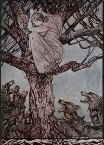 Sentado en una rama, miró con ¡ay enojado con el esfuerzo y gruñendo horda de abajo