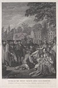 Guillaume Penn traite avec les indiens etablissant la province dans l'Amerique septentrionale