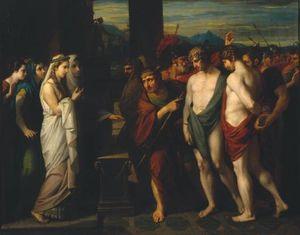 Pílades y Orestes Traído como víctimas antes de Ifigenia