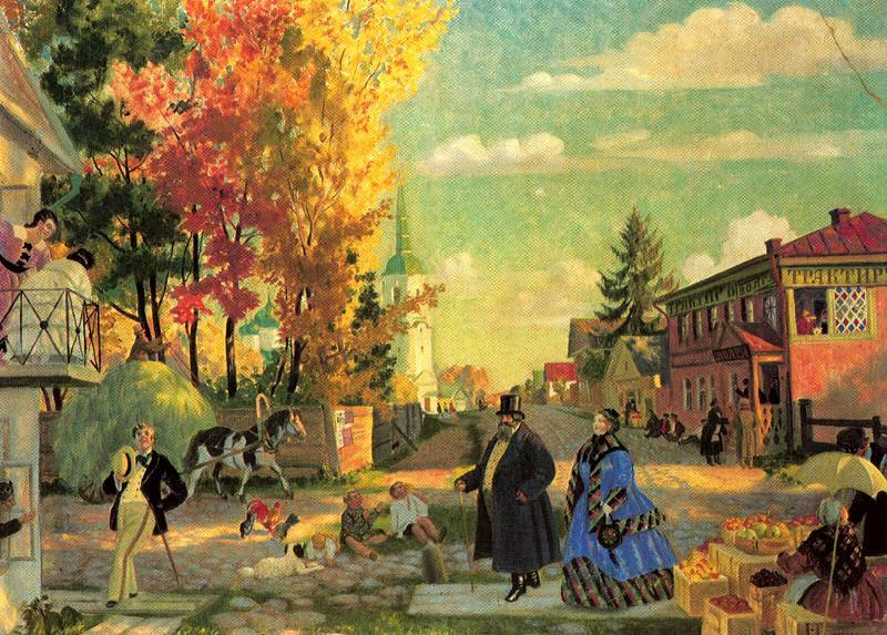 Wikioo.org - The Encyclopedia of Fine Arts - Painting, Artwork by Boris Mikhaylovich Kustodiev - Autumn Promenade
