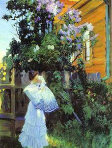 Lilacs. Yu.Ye.Kustodiyeva with Daughter Irina