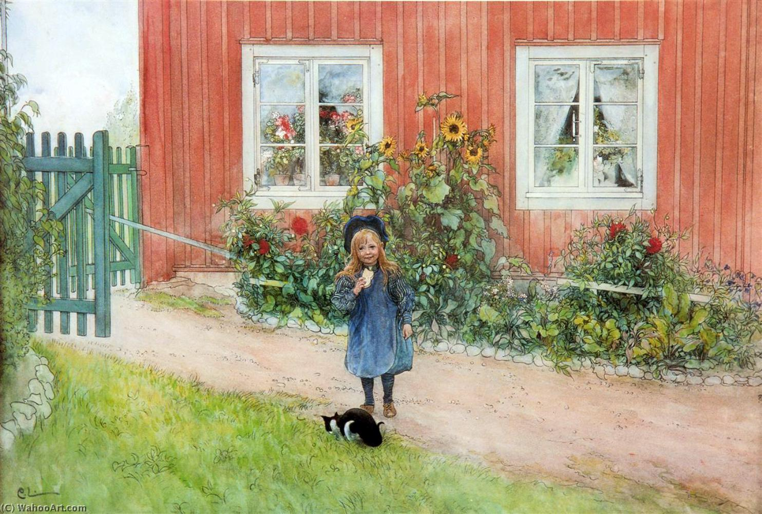 Wikioo.org - The Encyclopedia of Fine Arts - Painting, Artwork by Carl Larsson - Brita With A Cat And A Sandwich
