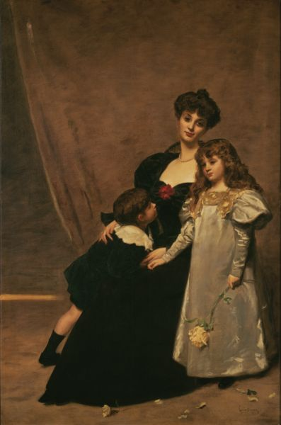 Wikioo.org - The Encyclopedia of Fine Arts - Painting, Artwork by Carolus-Duran (Charles-Auguste-Emile Durand) - Mother and Children (Madame Feydeau and Her Children)