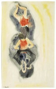 In Vaudeville. Two Acrobats on Bicycle