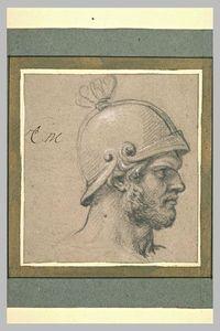 Tête d'homme barbu, casqué, de profil