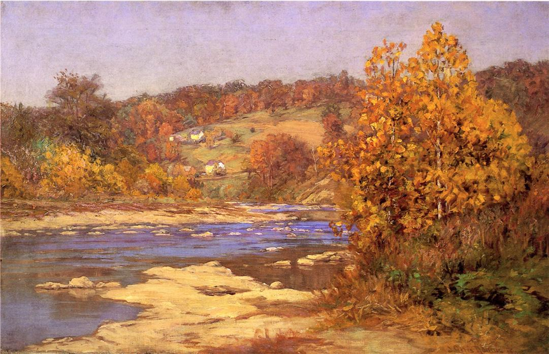 Wikioo.org - The Encyclopedia of Fine Arts - Painting, Artwork by John Ottis Adams - Blue and Gold