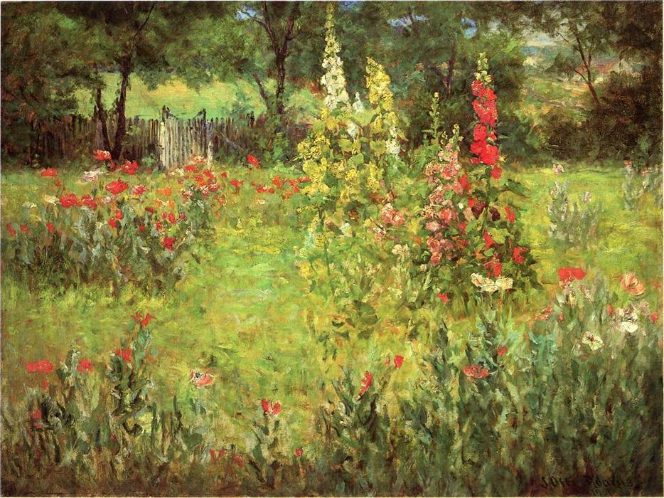 Wikioo.org - The Encyclopedia of Fine Arts - Painting, Artwork by John Ottis Adams - Hollyhocks and Poppies - The Hermitage