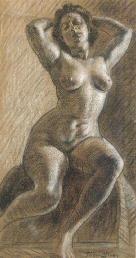 A seated nude - John Sloan | Wikioo.org - The Encyclopedia of Fine Arts