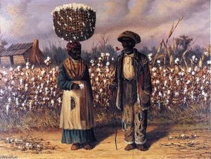 Negro Man and Woman in Cotton Field with Baskets of Cotton