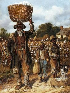 Negro Man, Two Boys and Dog in Cotton Field