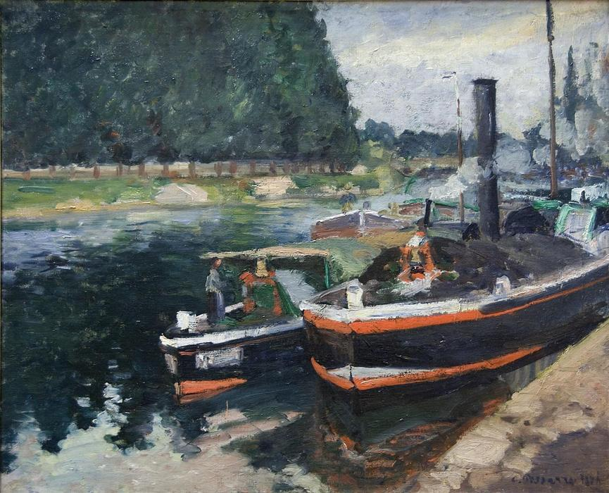 Wikioo.org - The Encyclopedia of Fine Arts - Painting, Artwork by Camille Pissarro - Barges on Pontoise