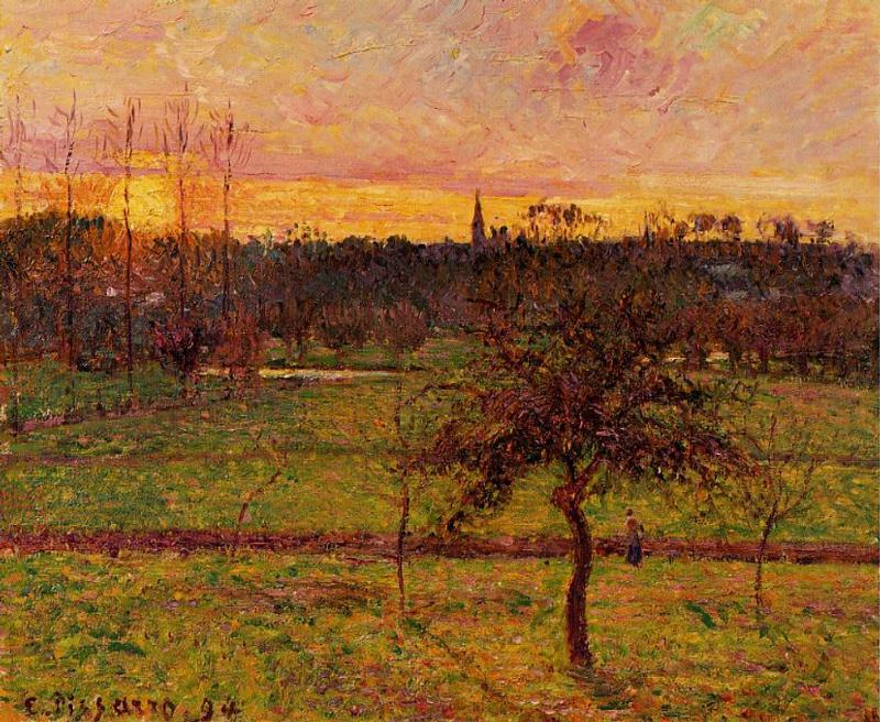 Wikioo.org - Die Enzyklopädie bildender Kunst - Malerei, Kunstwerk von Camille Pissarro - Sunset at Eragny