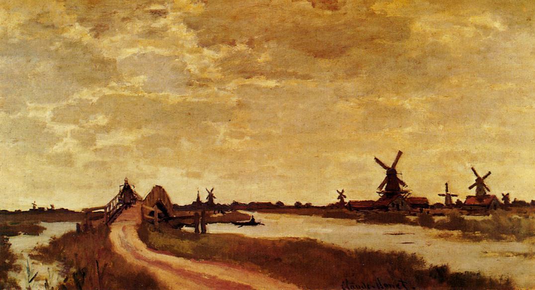 Wikioo.org - The Encyclopedia of Fine Arts - Painting, Artwork by Claude Monet - Windmills at Haaldersbroek, Zaandam