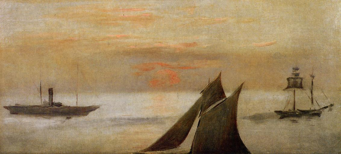 Wikioo.org - The Encyclopedia of Fine Arts - Painting, Artwork by Edouard Manet - Boats at Sea, Sunset